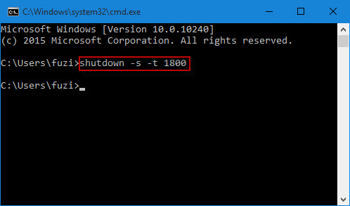 type timed shutdown command