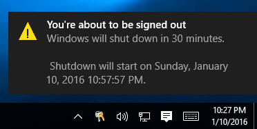 auto shutdown notification