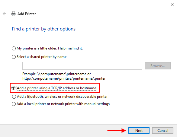 Add a printer using a IP address