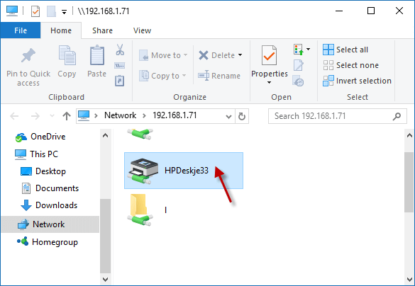connect to printer over network