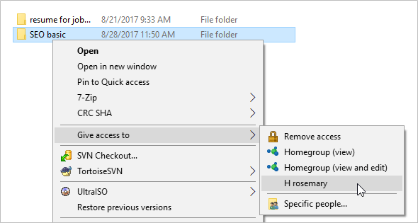 Give access to shared folder