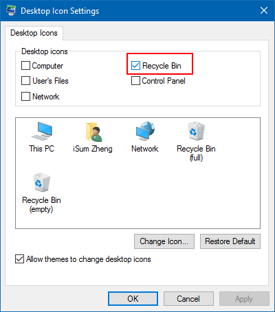 Show or hide Recycle Bin icon on Desktop