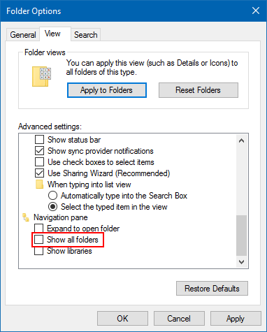 Uncheck Show all folders option to hide Recycle Bin