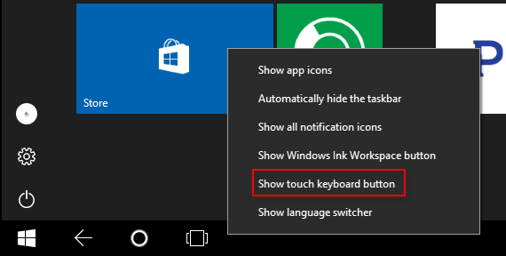 show or hide touch keyboard from taskbar