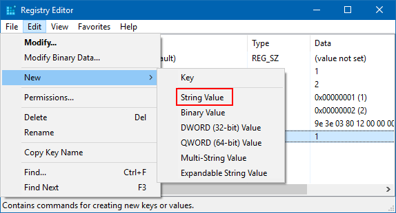 Create a new String Value named AutoEndTasks