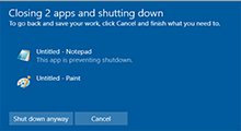 shutdown Windows 10 without any prompts