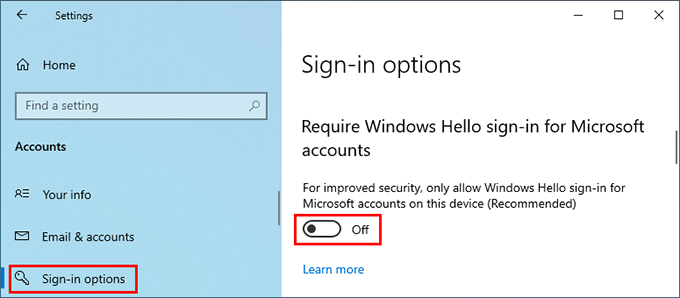 disable Windows Hello sign in