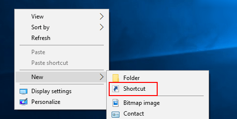 Create a new shortcut