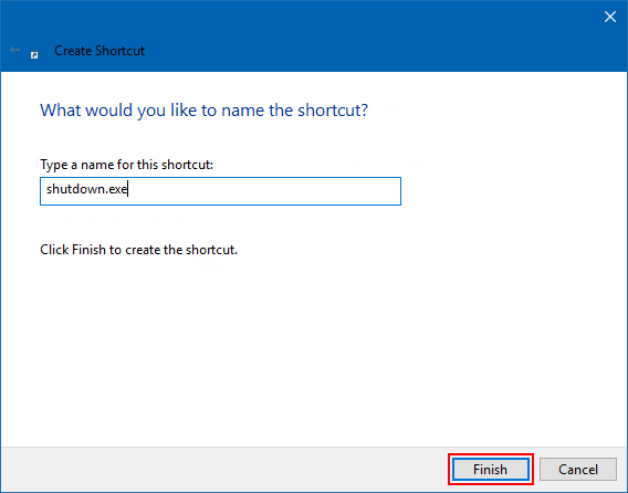 Create shutdown shortcut