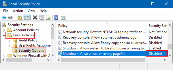Disable clear virtual memory pagefile