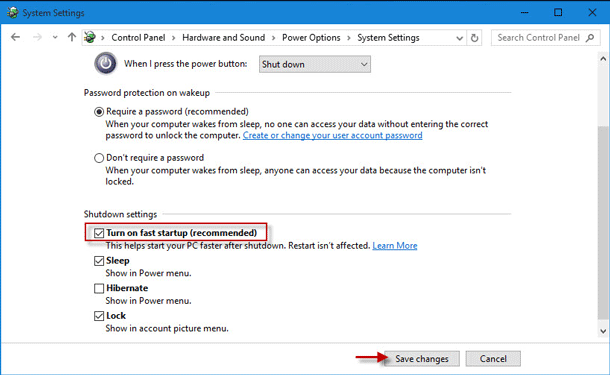 2 Ways to Turn on/off Fast Startup in Windows 10
