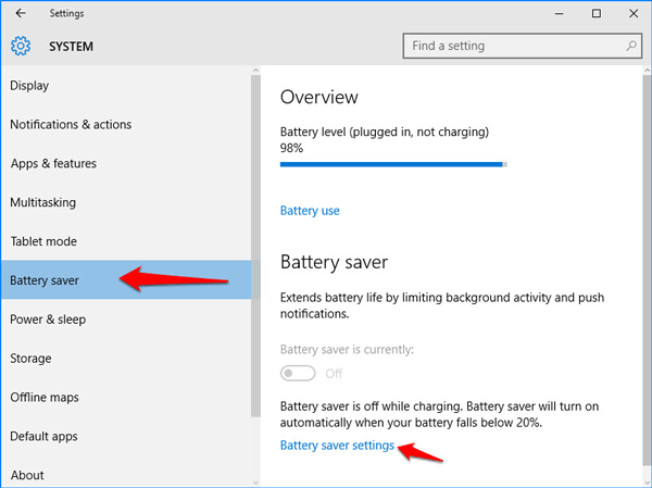 Click Battery saver settings link