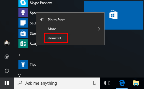 Uninstall apps in Start Menu