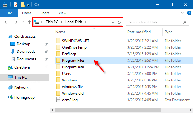 Open Program Files
