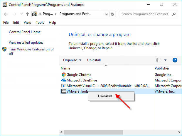 select program and click uninstall