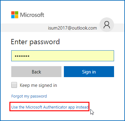 Use the Microsoft Authenticator app instead
