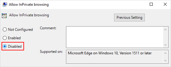 Disable Microsoft Edge InPrivate browsing