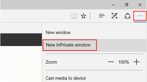 Use new InPrivate window