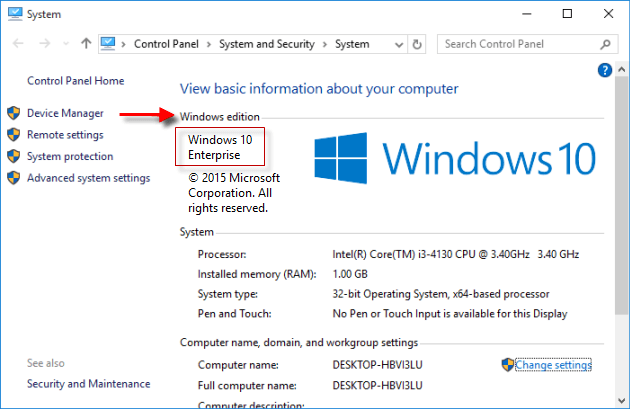 view windows 10 edition in system