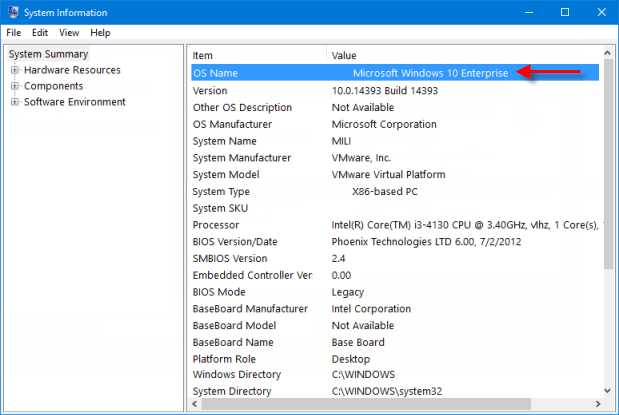 view windows edition in system information