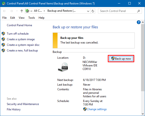 Create a Backup in Windows 10