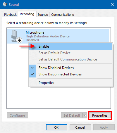Set microphone as default
