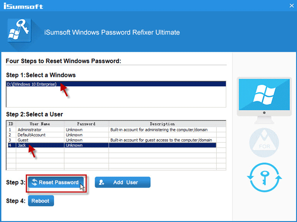 Select user and reset password