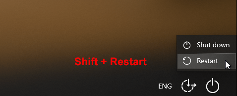 click Restart while holding Shift