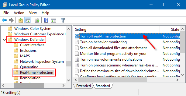 disabling windows defender real time protection