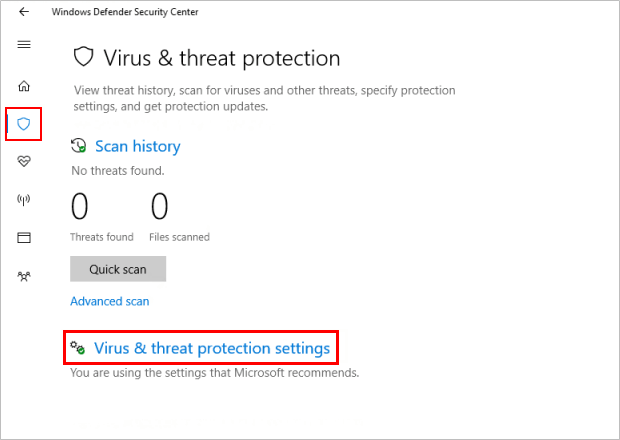 how to change antivirus settings on windows 10