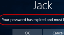 your password has expired and must be changed