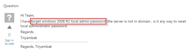 forgot windows server 2008 r2 admin password