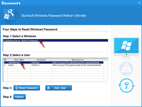 Select Windows Server 2008 R2 admin account and click Reset Password