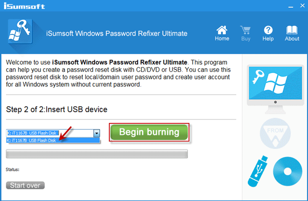 Note flash drive name and click Begin Burning