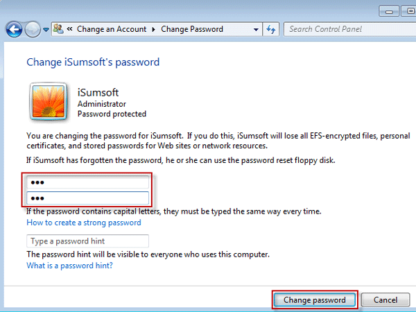 Change another administrator password