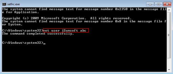 Run Net User command to reset Windows 7 admin password