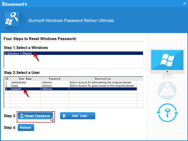 Select Windows 7 admin account and click Reset Password