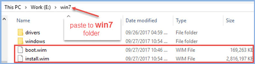 Paste two file into win7 folder