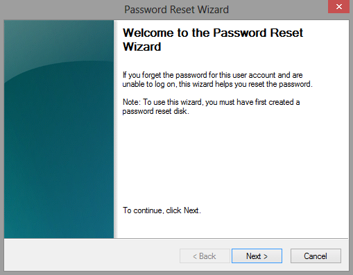 Win 8 Password Reset Wizard