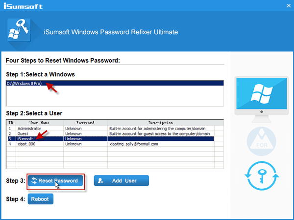 Select Windows 8 user and click on Reset Password