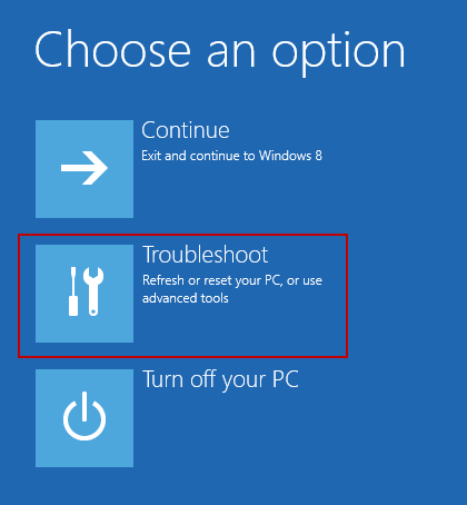 Troubleshoot option