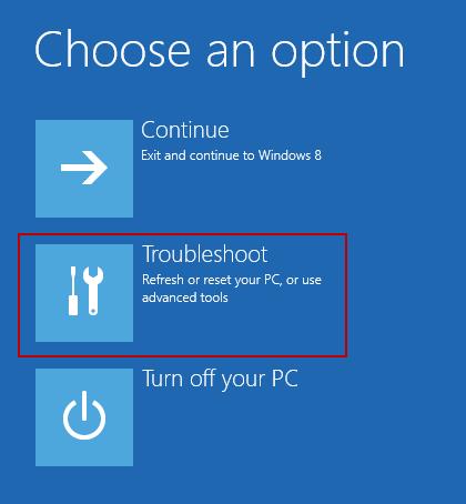 Troubleshoot option