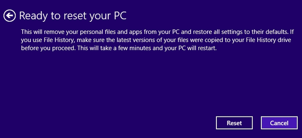 Start to Reset your PC