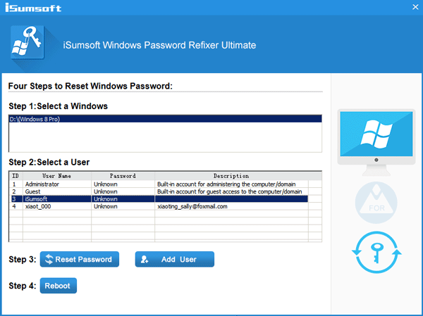 Remove Windows 8 password or Add new user