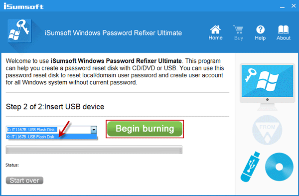 Note USB drive name and click Begin burning