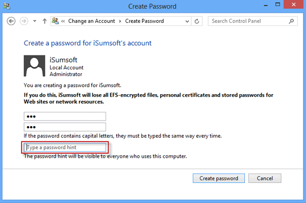 how to create password login