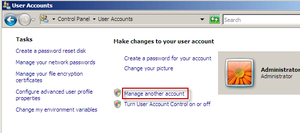 change password windows vista