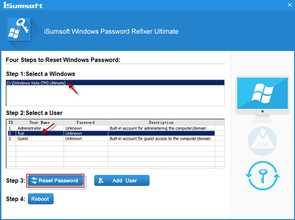 windows vista password reset usb boot