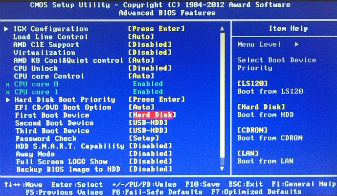 Select first boot device