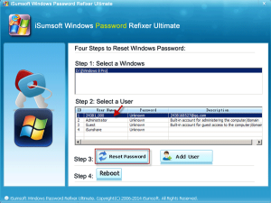 select microsoft account to reset password